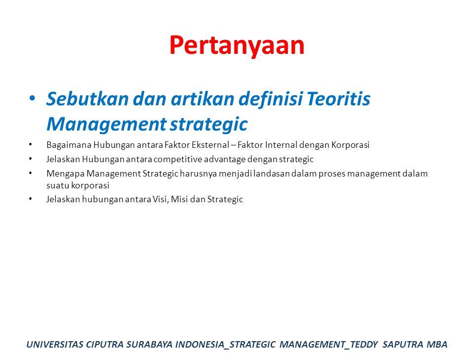 Pertanyaan Sebutkan dan artikan definisi Teoritis Management strategic