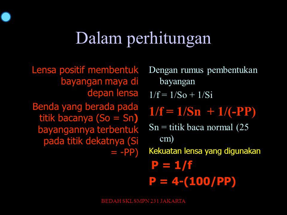 Dalam perhitungan 1/f = 1/Sn + 1/(-PP) P = 4-(100/PP)