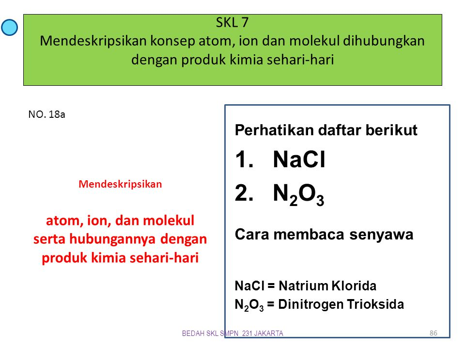 NaCl N2O3 Cara membaca senyawa