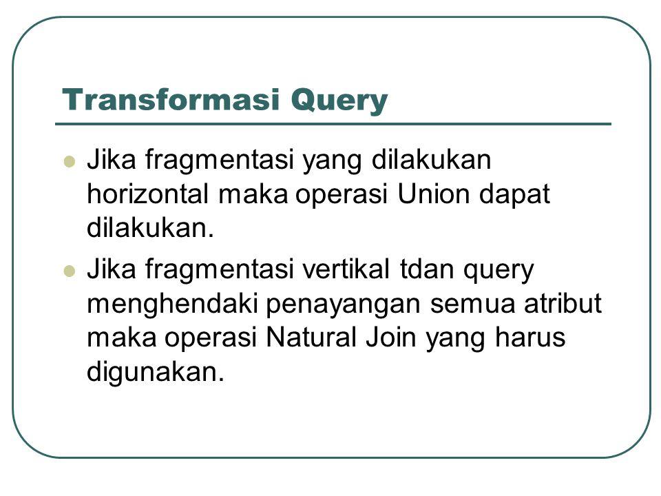 Transformasi Query Jika fragmentasi yang dilakukan horizontal maka operasi Union dapat dilakukan.