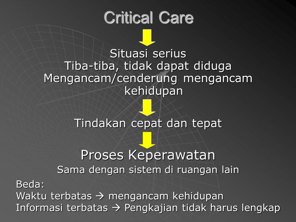 Critical Care Proses Keperawatan Situasi serius