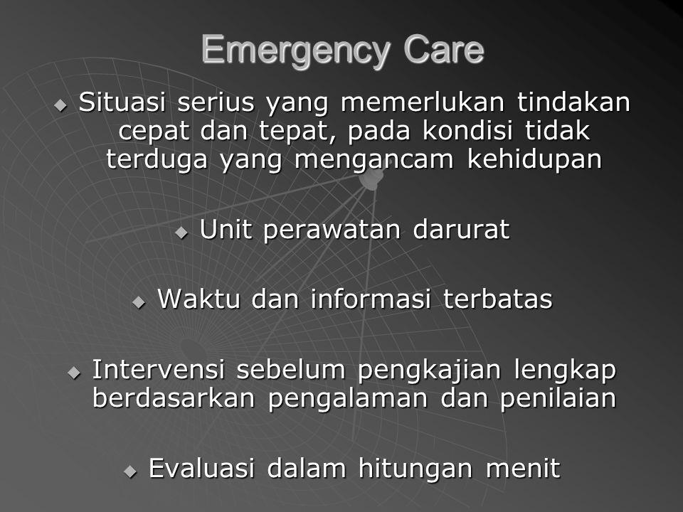 Emergency Care Situasi serius yang memerlukan tindakan cepat dan tepat, pada kondisi tidak terduga yang mengancam kehidupan.