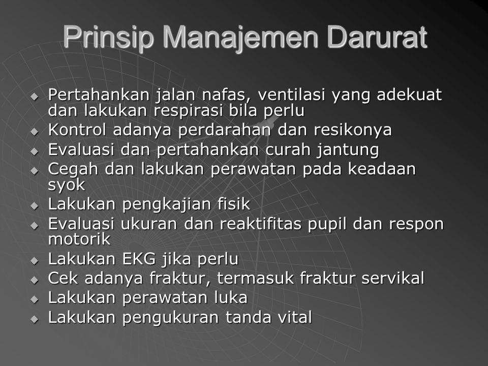Prinsip Manajemen Darurat