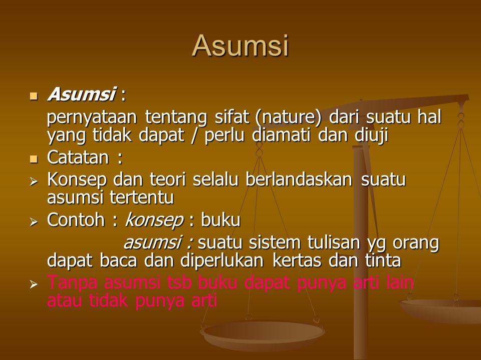 Asumsi Asumsi : pernyataan tentang sifat (nature) dari suatu hal yang tidak dapat / perlu diamati dan diuji.