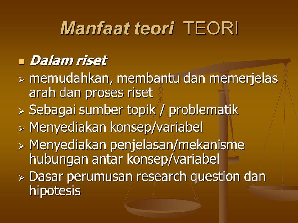 Manfaat teori TEORI Dalam riset