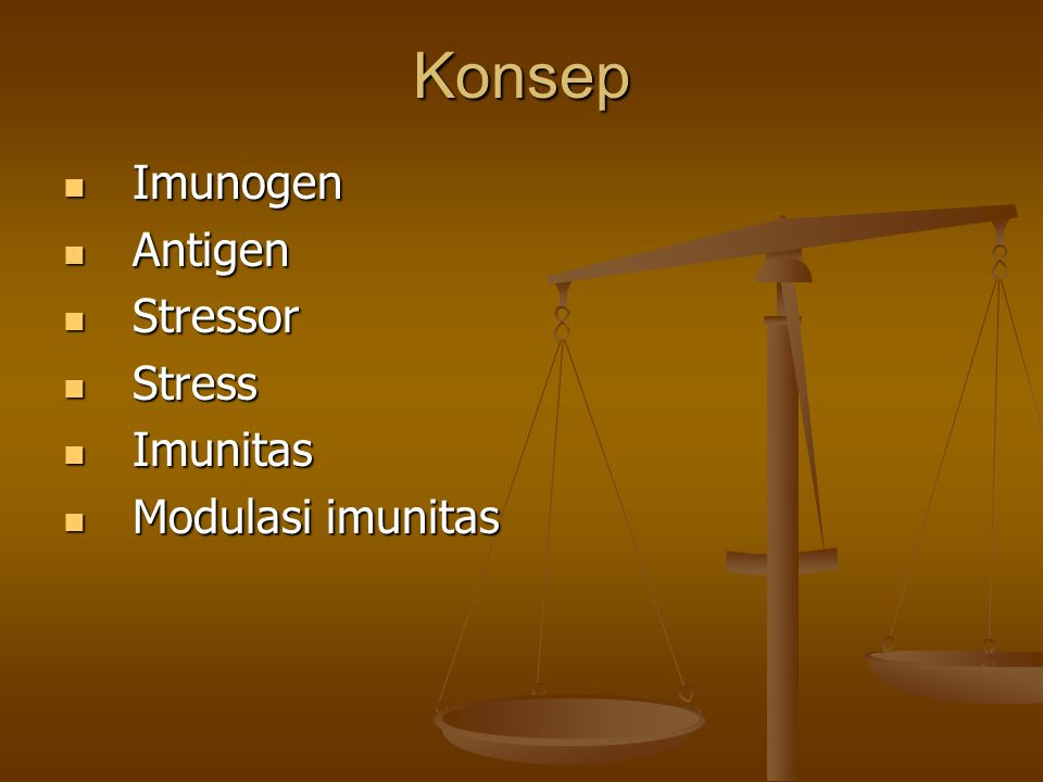 Konsep Imunogen Antigen Stressor Stress Imunitas Modulasi imunitas