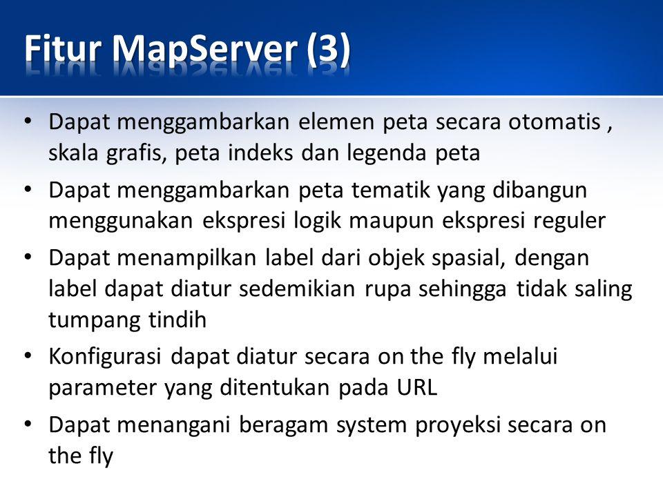 Fitur MapServer (3) Dapat menggambarkan elemen peta secara otomatis , skala grafis, peta indeks dan legenda peta.