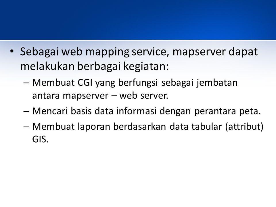 Sebagai web mapping service, mapserver dapat melakukan berbagai kegiatan: