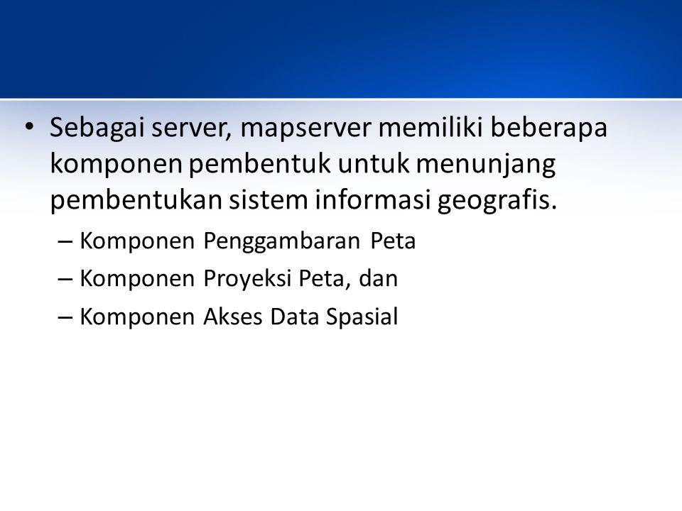 Sebagai server, mapserver memiliki beberapa komponen pembentuk untuk menunjang pembentukan sistem informasi geografis.