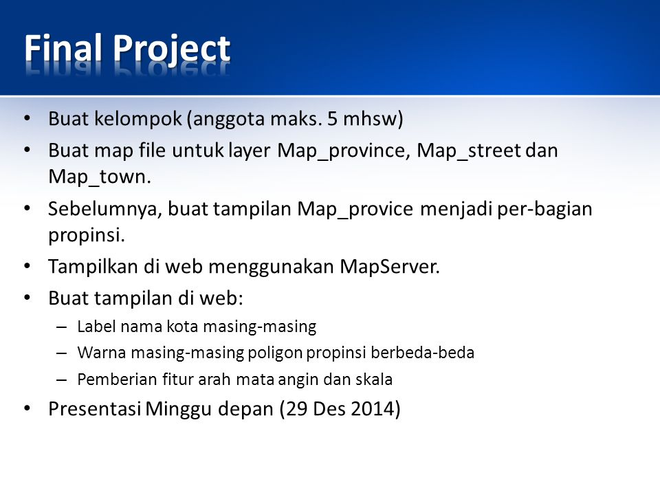 Final Project Buat kelompok (anggota maks. 5 mhsw)