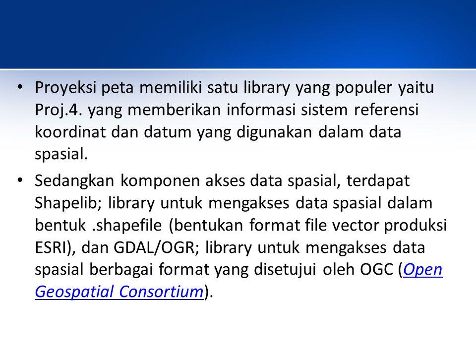 Proyeksi peta memiliki satu library yang populer yaitu Proj. 4