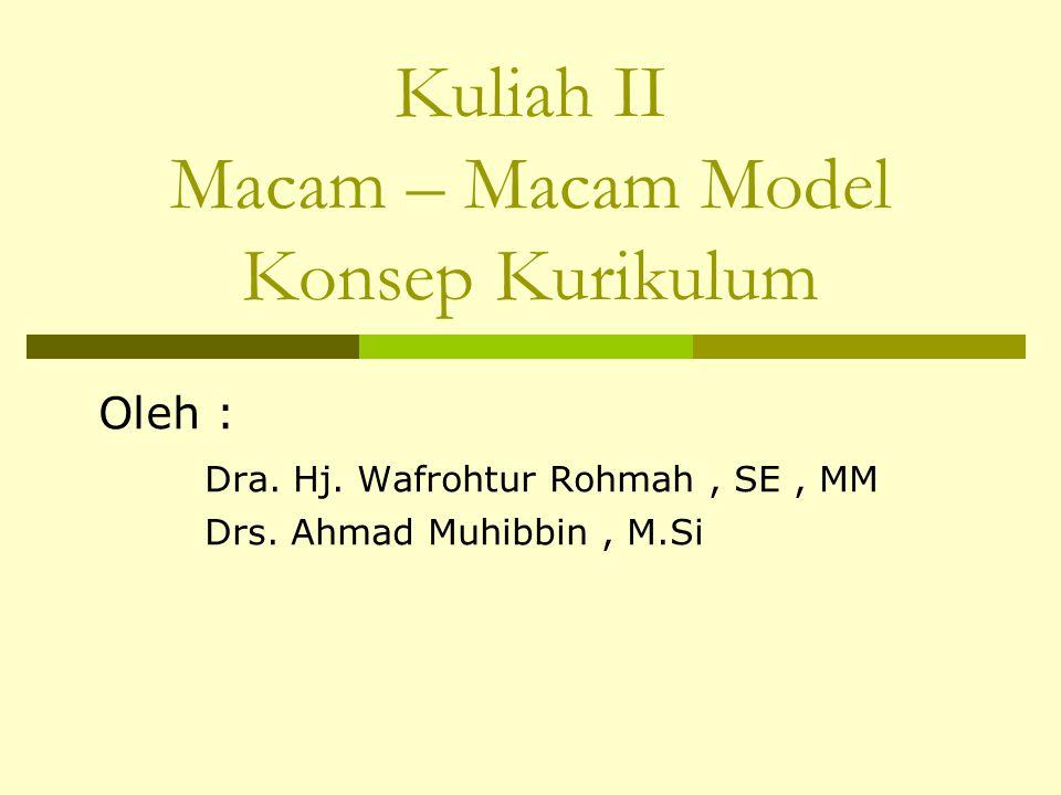 Kuliah II Macam – Macam Model Konsep Kurikulum