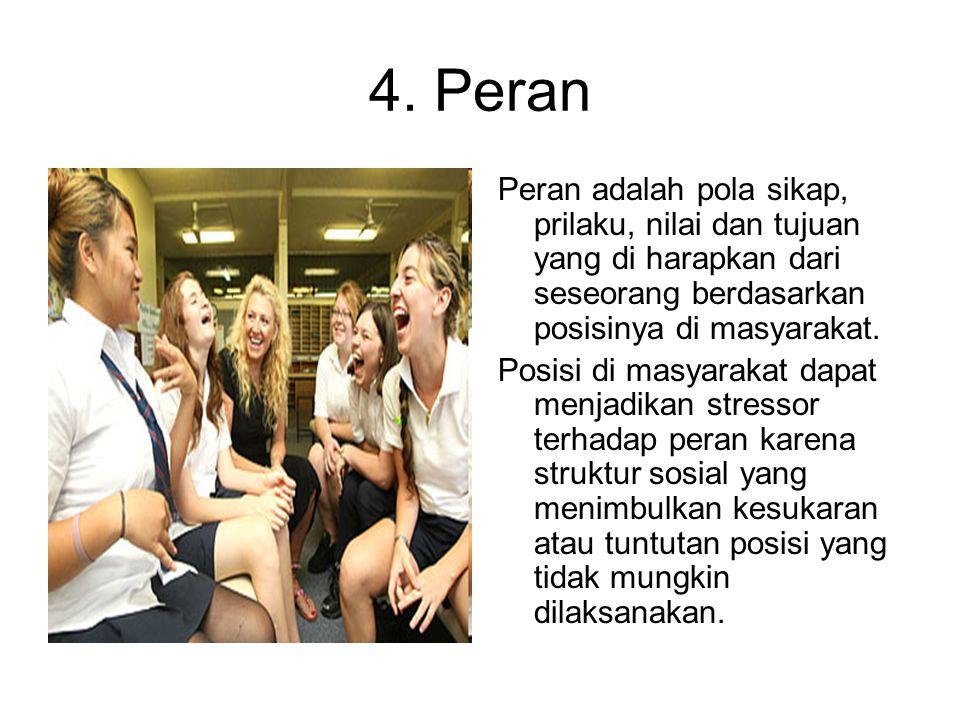 4. Peran Peran adalah pola sikap, prilaku, nilai dan tujuan yang di harapkan dari seseorang berdasarkan posisinya di masyarakat.