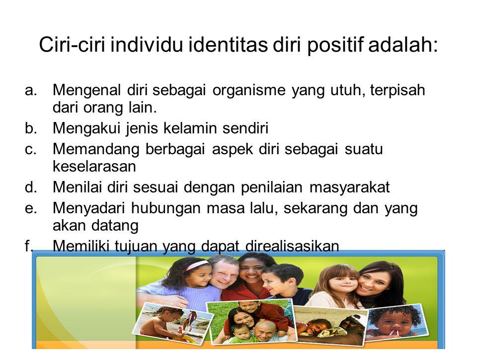 Ciri-ciri individu identitas diri positif adalah:
