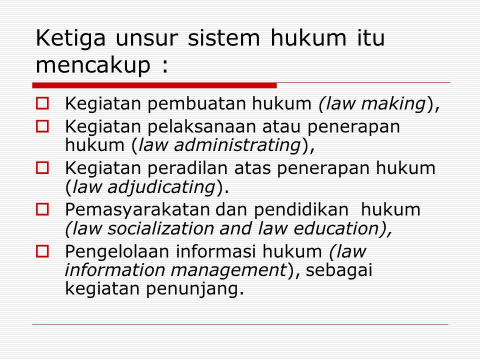 Ketiga unsur sistem hukum itu mencakup :
