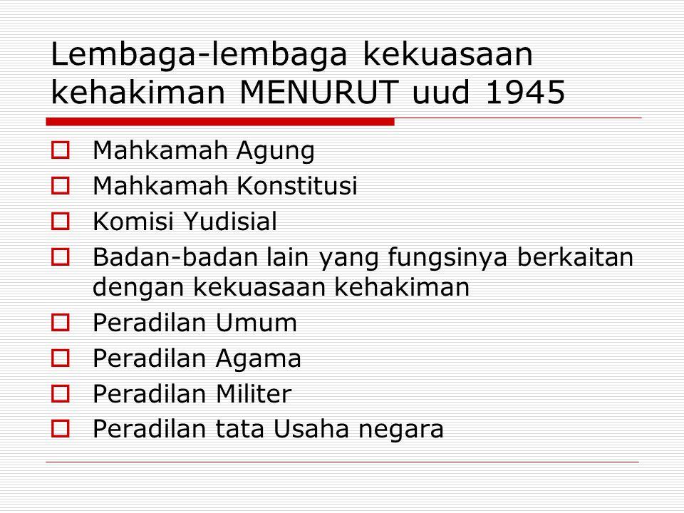 Lembaga-lembaga kekuasaan kehakiman MENURUT uud 1945