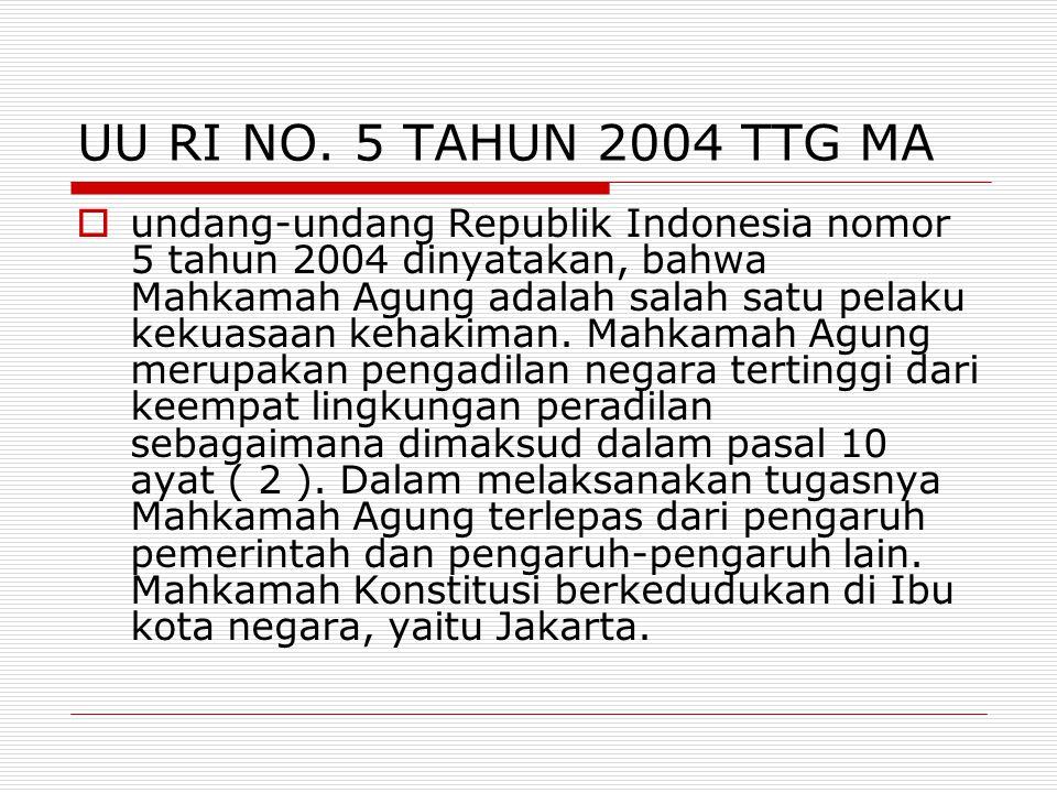 UU RI NO. 5 TAHUN 2004 TTG MA