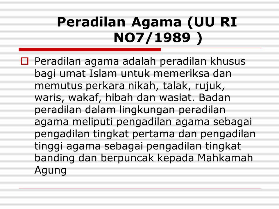 Peradilan Agama (UU RI NO7/1989 )