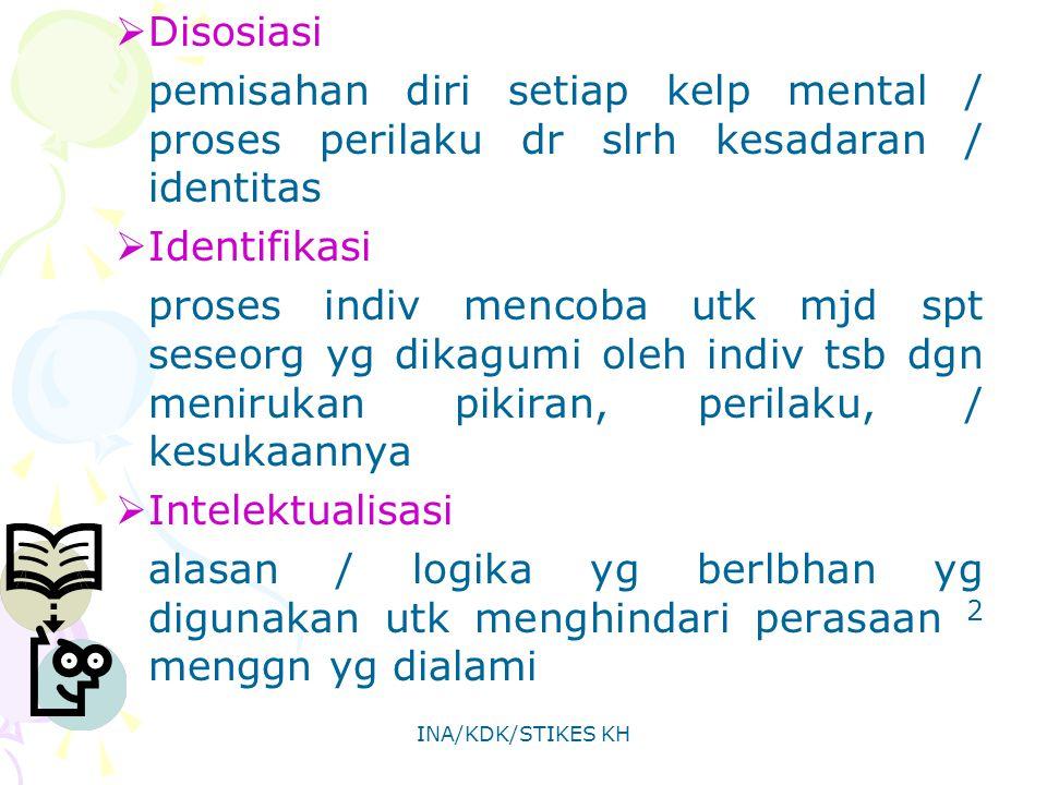Disosiasi pemisahan diri setiap kelp mental / proses perilaku dr slrh kesadaran / identitas. Identifikasi.