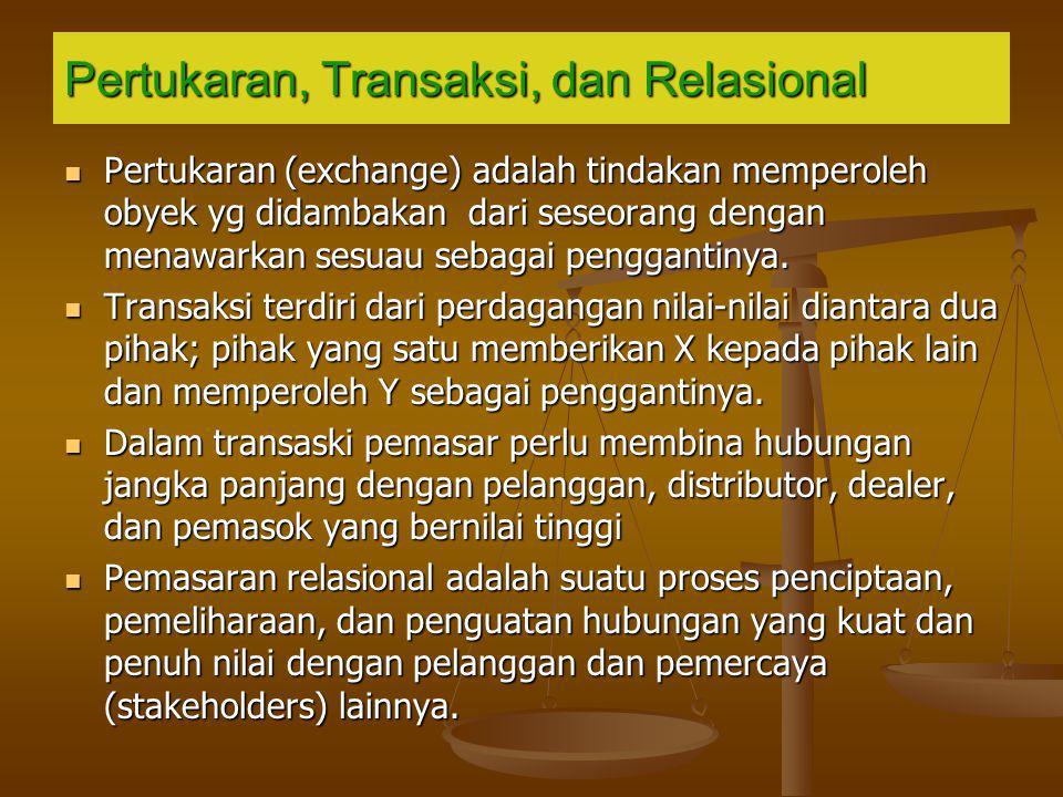 Pertukaran, Transaksi, dan Relasional