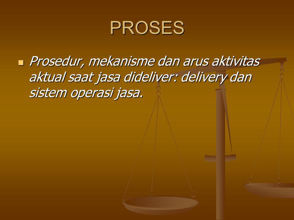 PROSES Prosedur, mekanisme dan arus aktivitas aktual saat jasa dideliver: delivery dan sistem operasi jasa.
