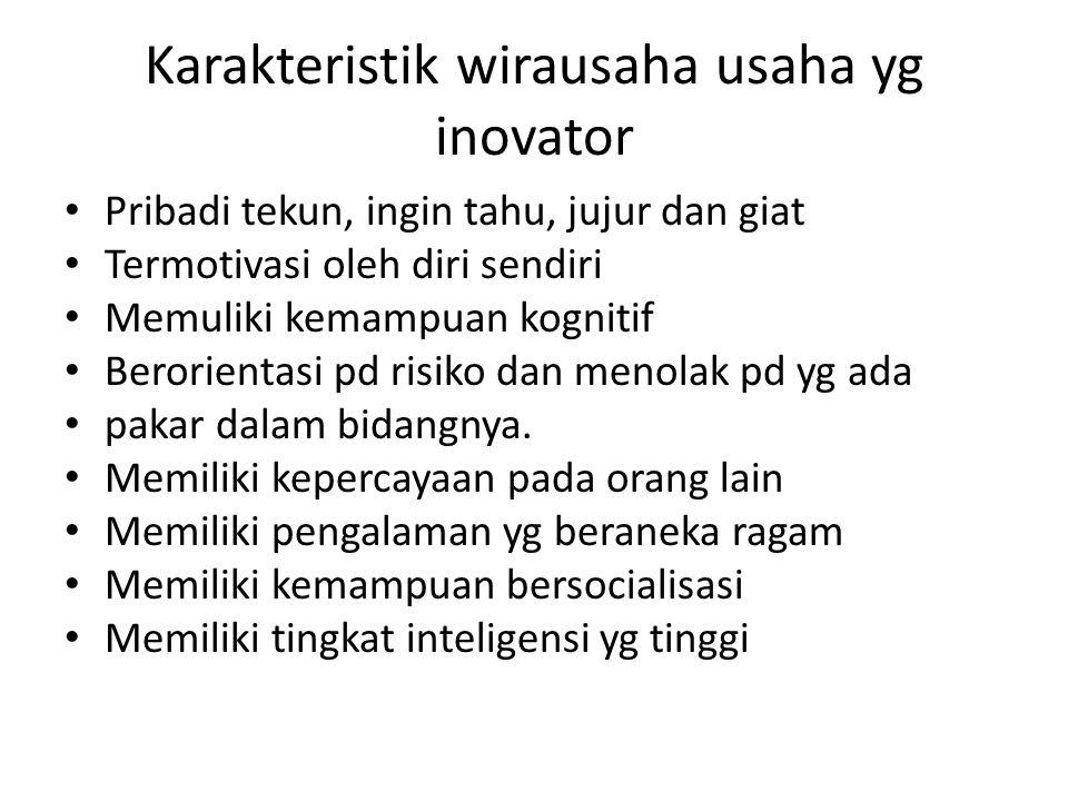 Karakteristik wirausaha usaha yg inovator