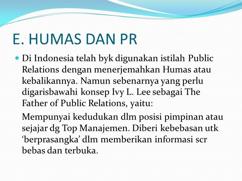 E. HUMAS DAN PR