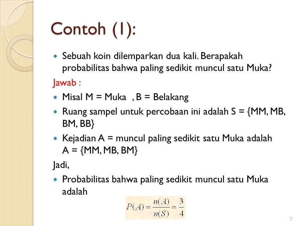 Contoh (1): Sebuah koin dilemparkan dua kali. Berapakah probabilitas bahwa paling sedikit muncul satu Muka