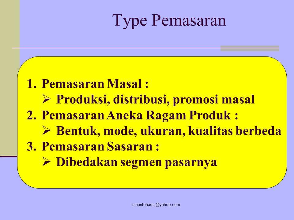Type Pemasaran Pemasaran Masal : Produksi, distribusi, promosi masal