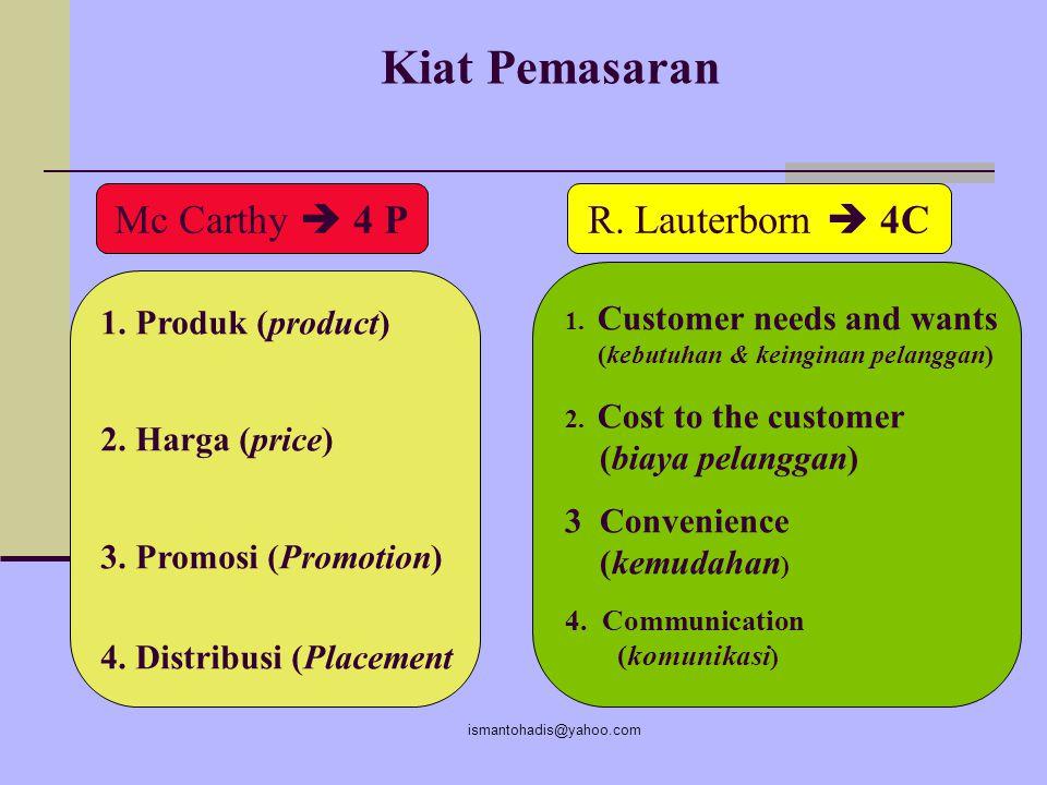 Kiat Pemasaran Mc Carthy  4 P R. Lauterborn  4C 1. Produk (product)
