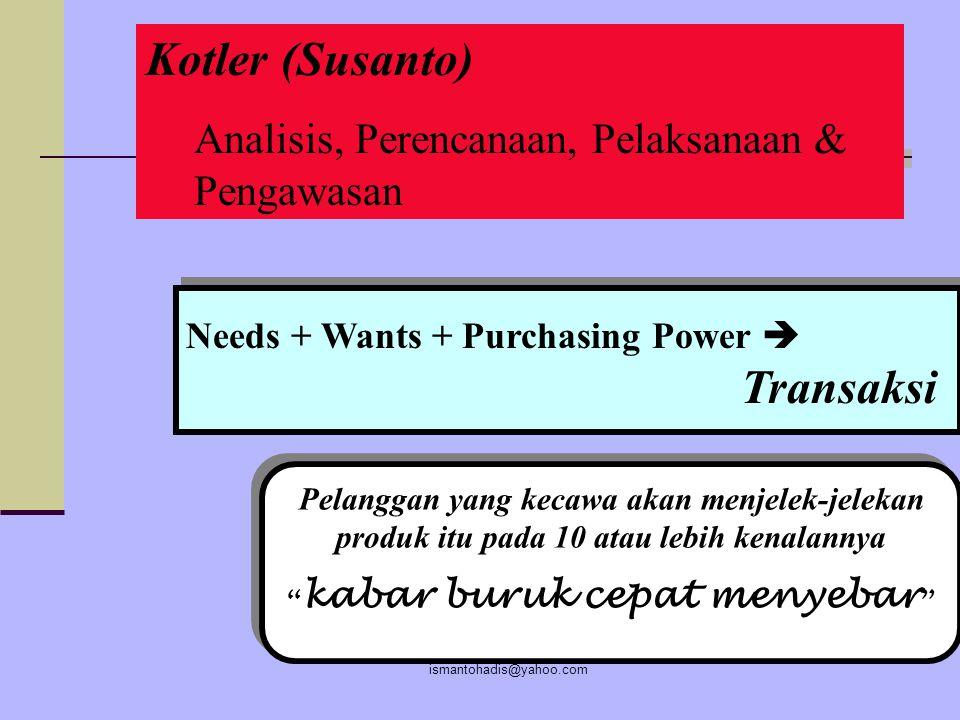 Kotler (Susanto) Analisis, Perencanaan, Pelaksanaan & Pengawasan