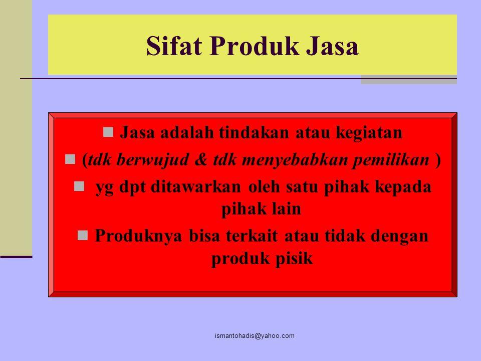 Sifat Produk Jasa Jasa adalah tindakan atau kegiatan