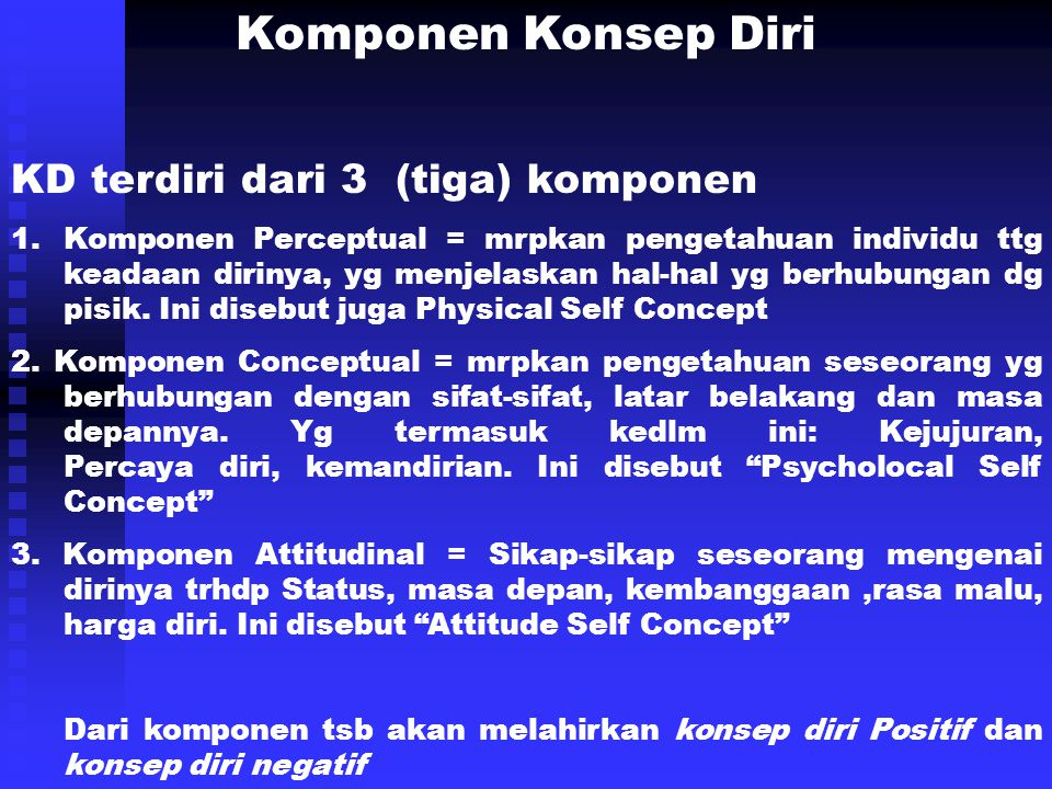 Komponen Konsep Diri KD terdiri dari 3 (tiga) komponen