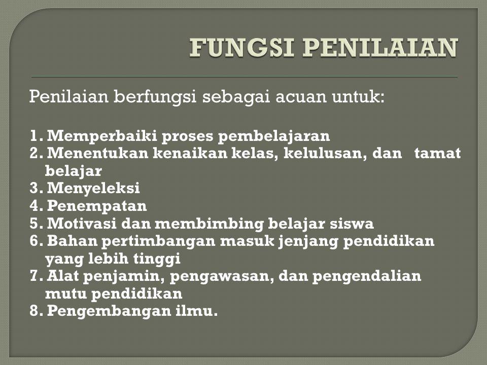 FUNGSI PENILAIAN Penilaian berfungsi sebagai acuan untuk: