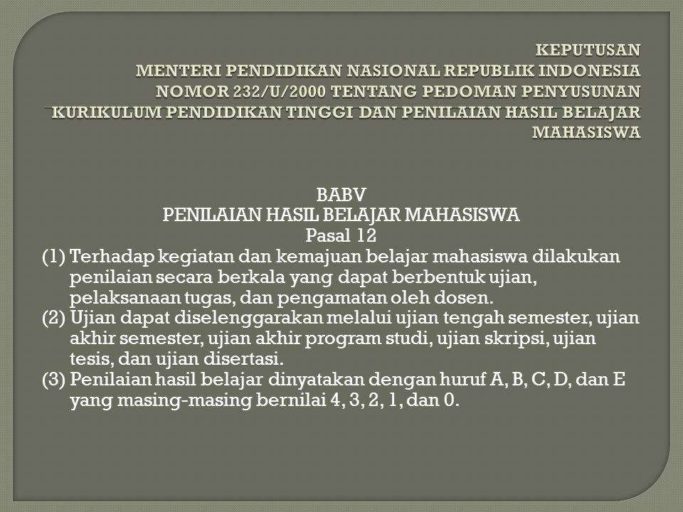 PENILAIAN HASIL BELAJAR MAHASISWA