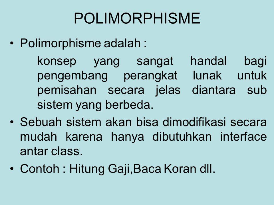 POLIMORPHISME Polimorphisme adalah :