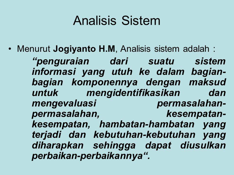 Analisis Sistem Menurut Jogiyanto H.M, Analisis sistem adalah :