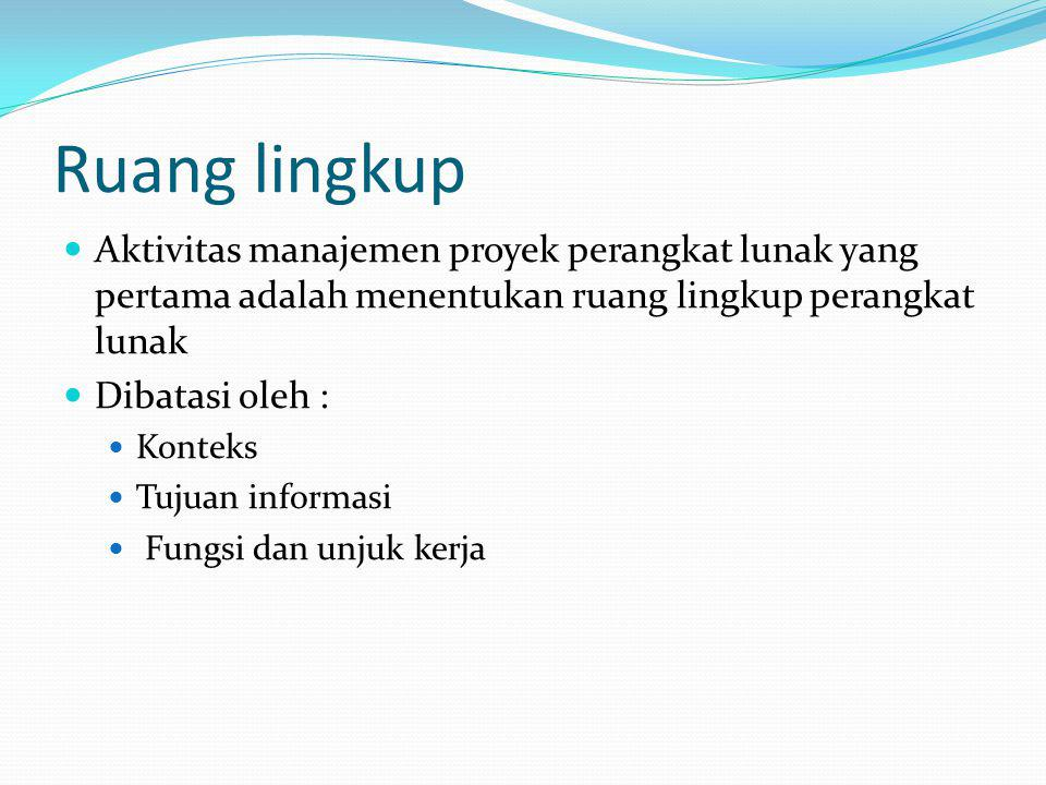 Ruang lingkup Aktivitas manajemen proyek perangkat lunak yang pertama adalah menentukan ruang lingkup perangkat lunak.