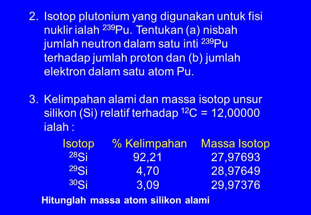 Isotop plutonium yang digunakan untuk fisi nuklir ialah 239Pu