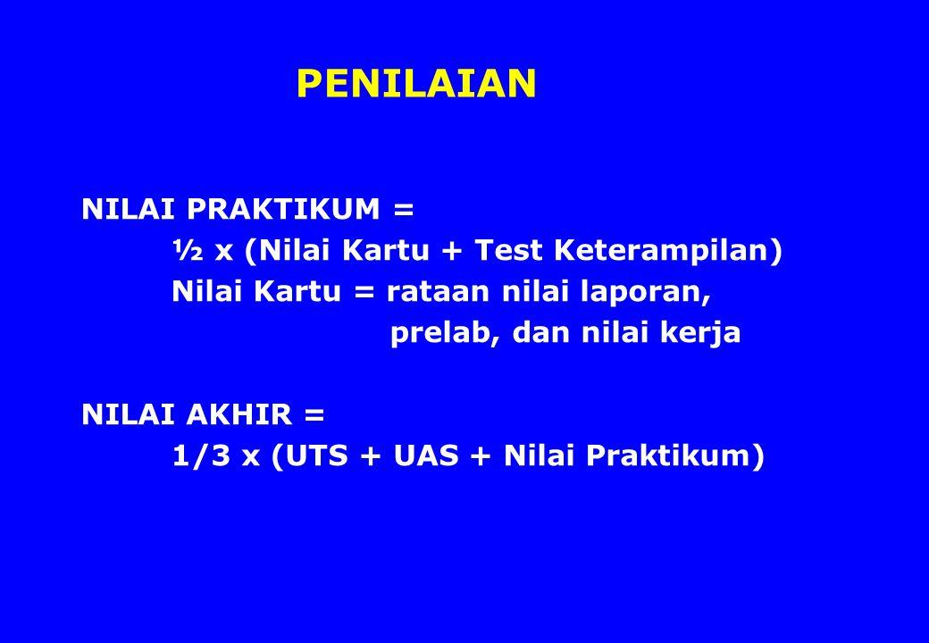 PENILAIAN NILAI PRAKTIKUM = ½ x (Nilai Kartu + Test Keterampilan)