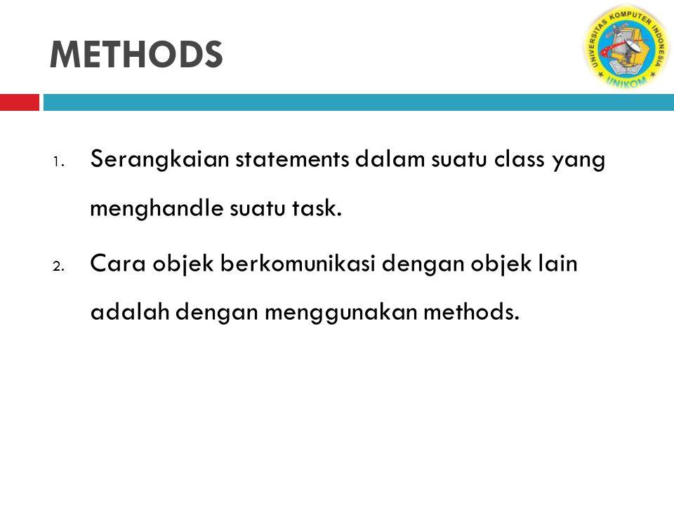 METHODS Serangkaian statements dalam suatu class yang menghandle suatu task.