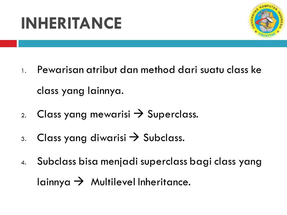 INHERITANCE Pewarisan atribut dan method dari suatu class ke class yang lainnya. Class yang mewarisi  Superclass.