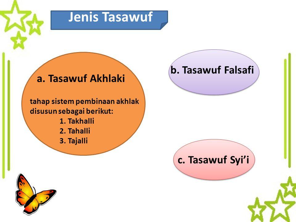 Jenis Tasawuf b. Tasawuf Falsafi a. Tasawuf Akhlaki c. Tasawuf Syi'i