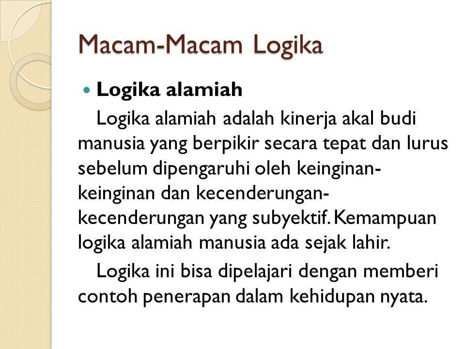 Macam-Macam Logika Logika alamiah