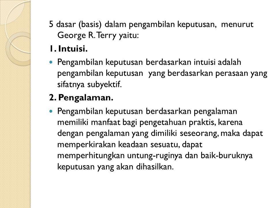 5 dasar (basis) dalam pengambilan keputusan, menurut George R