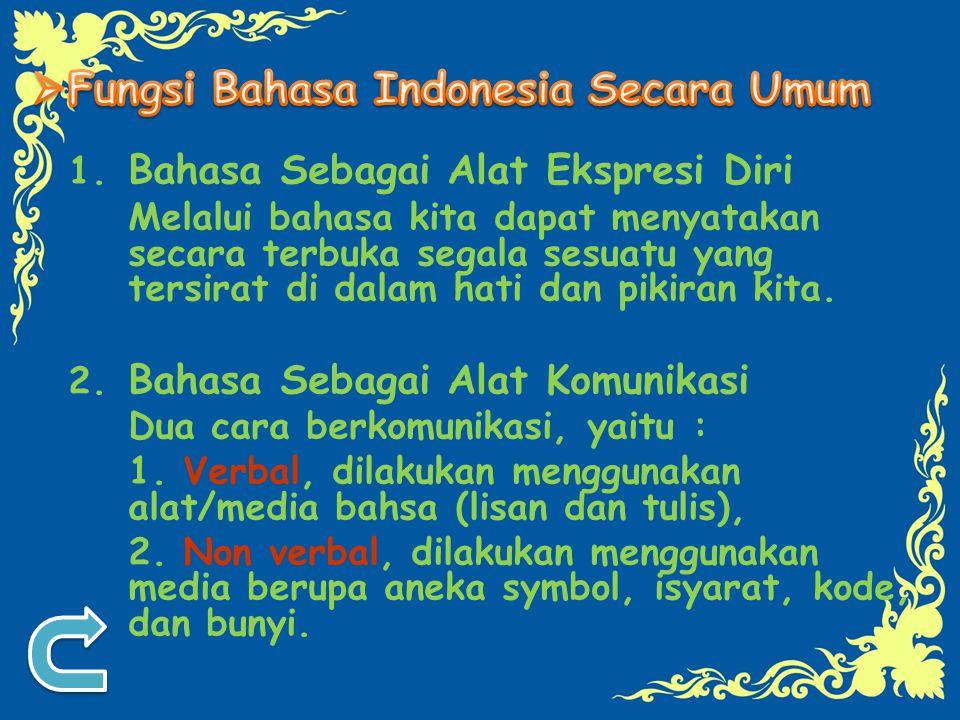 Fungsi Bahasa Indonesia Secara Umum