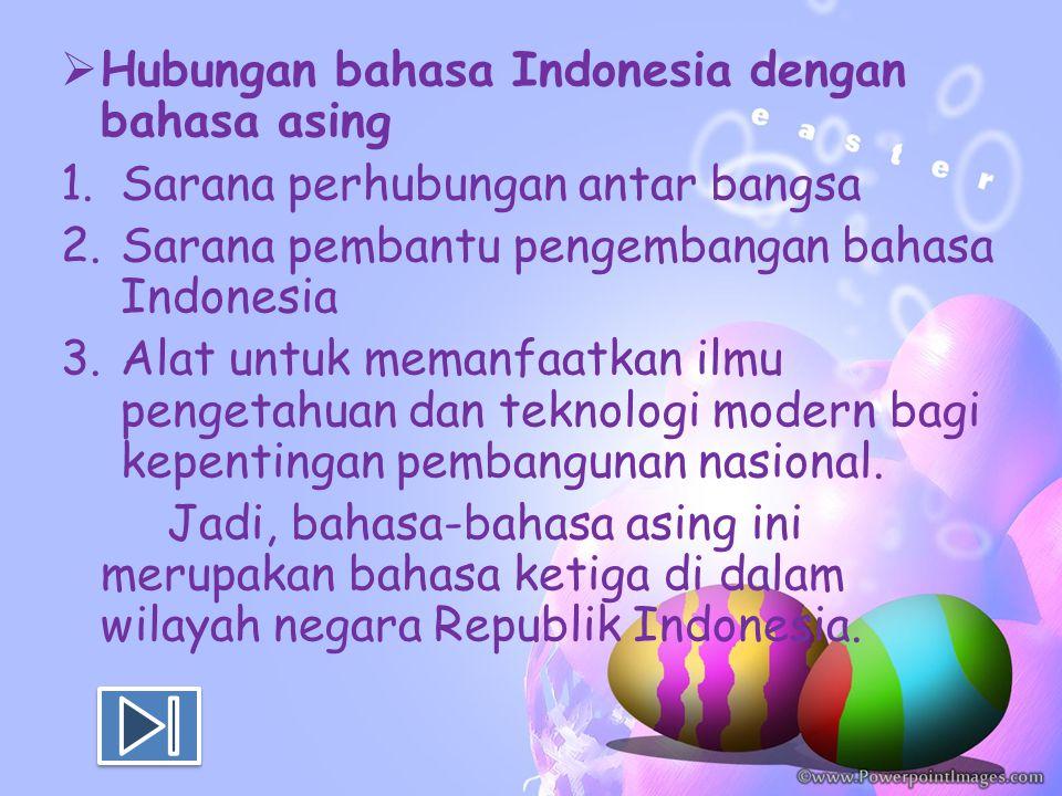Hubungan bahasa Indonesia dengan bahasa asing