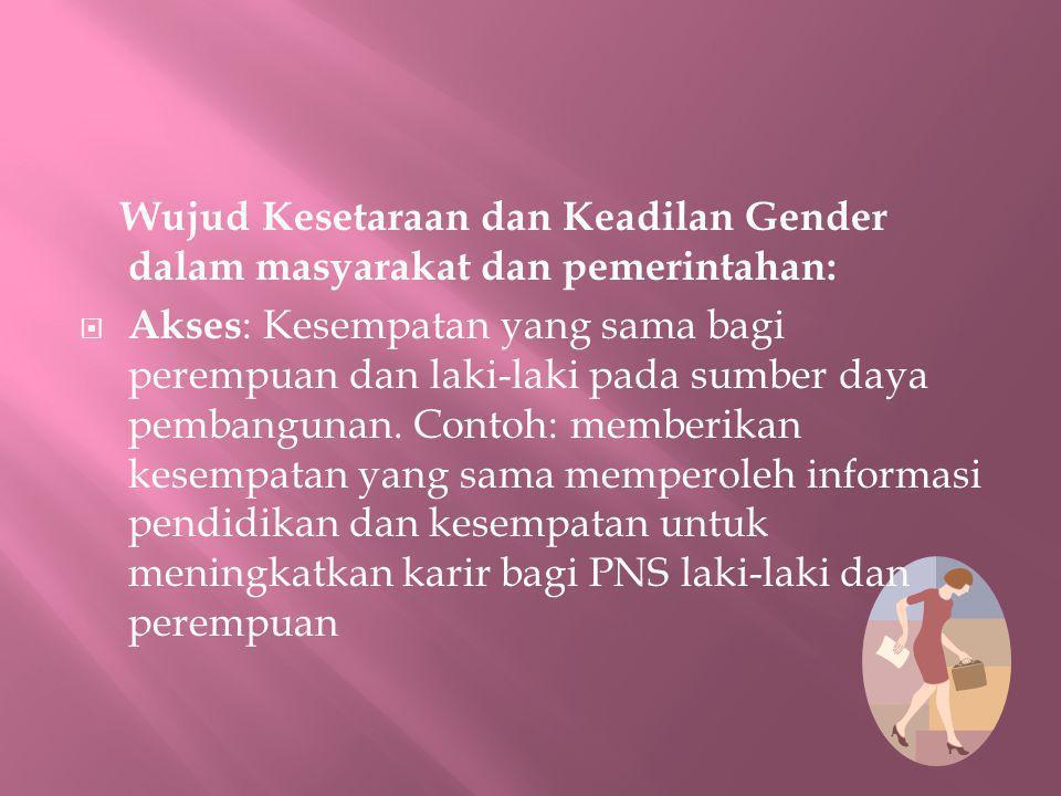 Wujud Kesetaraan dan Keadilan Gender dalam masyarakat dan pemerintahan: