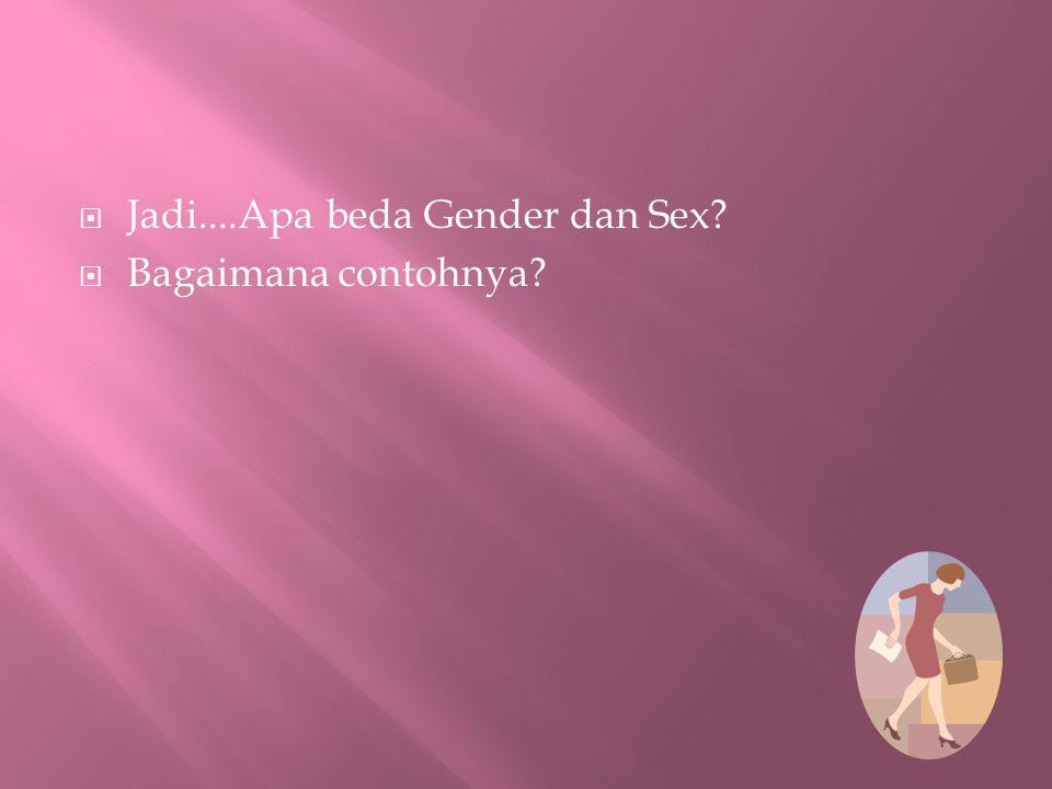 Jadi....Apa beda Gender dan Sex