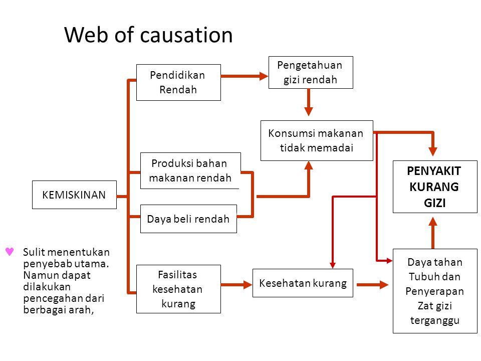 Web of causation PENYAKIT KURANG GIZI Pengetahuan gizi rendah